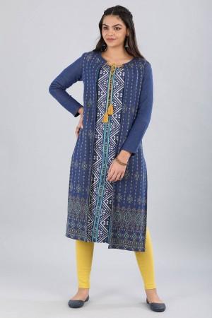 Blue Tie-up Yarn-dyed Jacket