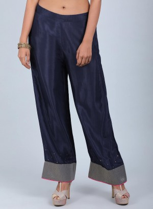Blue Solid Straight Pants