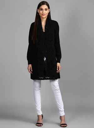 Black Cardigan With Attached Scarf
