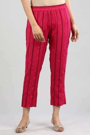 Pink Yarn-dyed Trousers