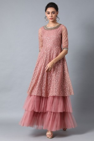 Pink Round Neck Embroidered Gown