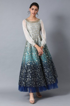 Blue Round Neck Embroidered Gown