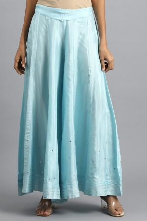 Blue Embroidered Culottes