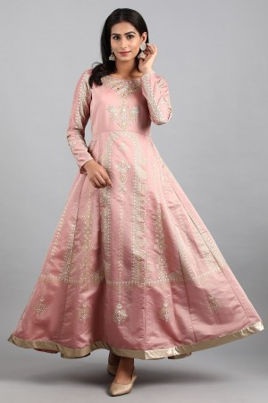 Coral Round Neck Festive Gown