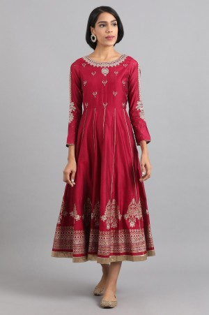 Maroon Embroidered A Line Dress