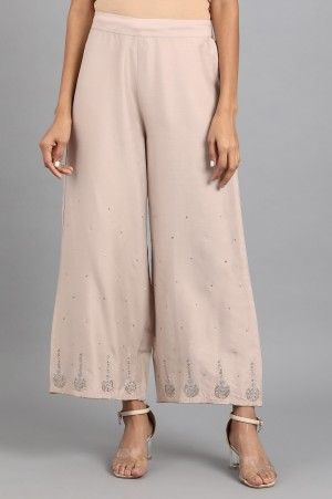 Beige Embroidered Pants