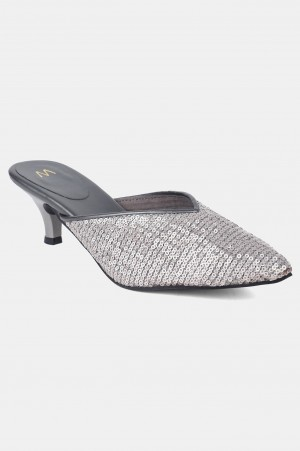 Silver Pointed Toe Sequined Kitten Heel