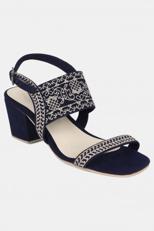 Navy Square Toe Embroidered Block Heel