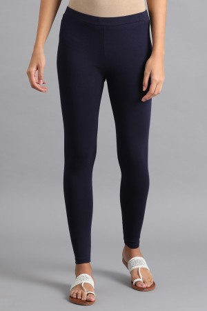 Navy Blue Solid Tights