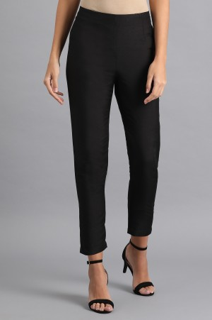 Black Solid Trousers