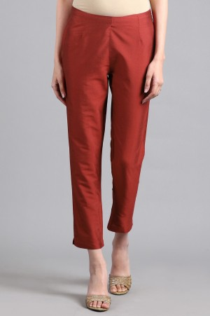 Red Solid Pants