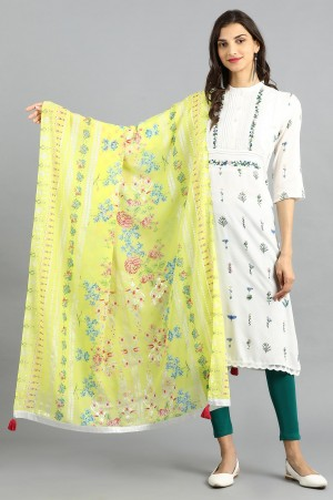 Printed Dupatta with Silver lurex Details Along the width