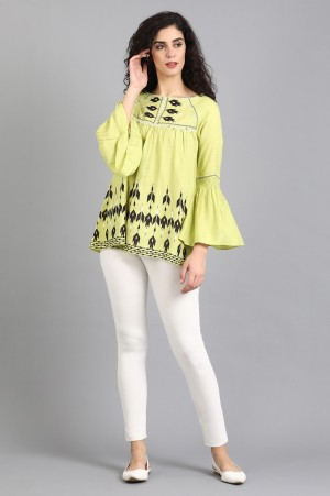 Green Round Neck Printed Top