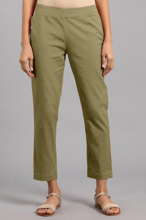 Olive Green Solid Trousers