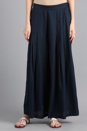 Blue Solid Parallel Pants