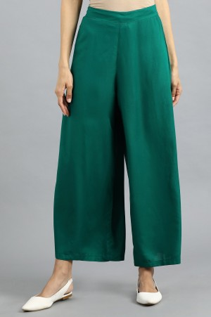 Green Solid Parallel Pants