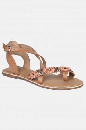 Peach Almond Toe Embroidered Flat
