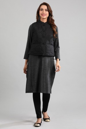 Black Yarn-dyed Quilted Jacket