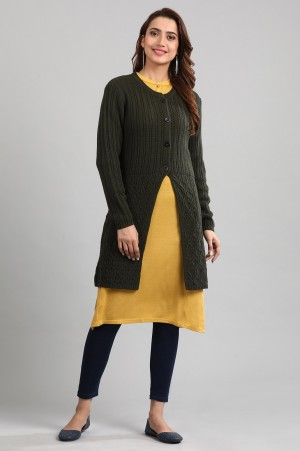 Green Round Neck Solid Sweater