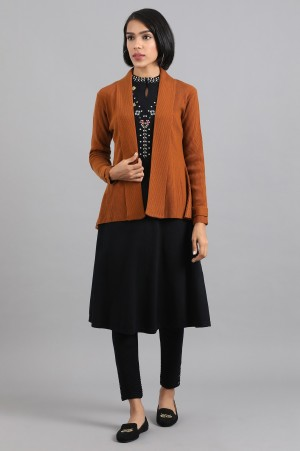 Brown Front Open Basic Cardigan