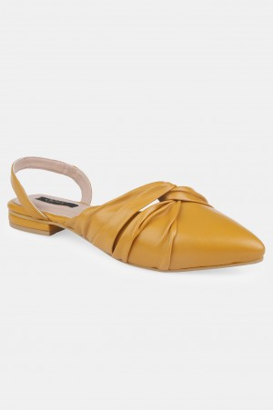 Mustard Pointed Toe Solid Flat - ZCandice