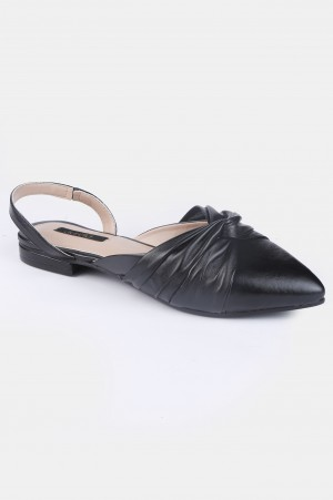 Black Pointed Toe Solid Flat - ZCandice