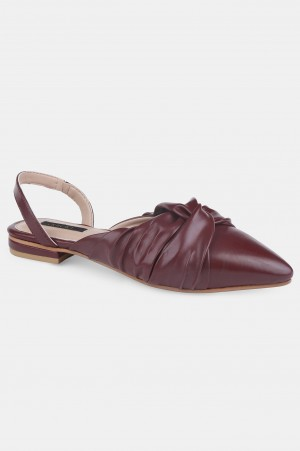 Burgundy Pointed Toe Solid Flat - ZCandice