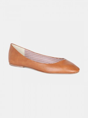 Tan Round Toe Solid Flat - ZLessie