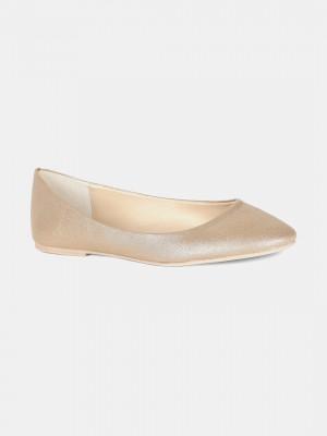 Gold Round Toe Textured Flat - ZLessie