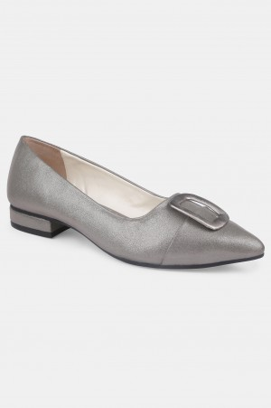 Pewter Pointed Toe Textured Flat - ZTina