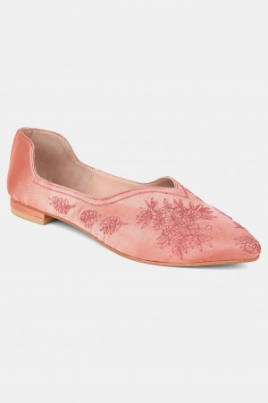 Rose Gold Pointed Toe Embroidered Flat - ZLynn