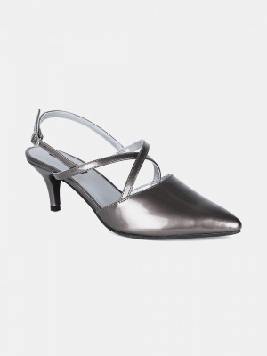 Pewter Pointed Toe Mettalic Stiletto - ZClaire