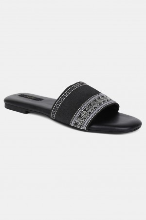 Black Square Toe Embroidered Flat - ZDiana