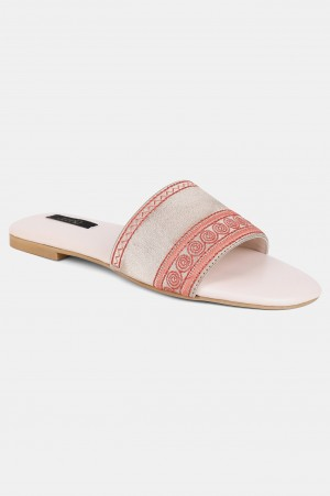 Gold Square Toe Embroidered Flat - ZDiana
