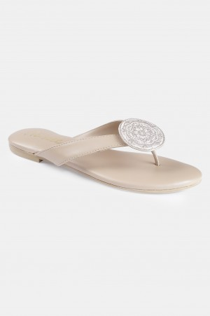 Beige Almond Toe Embroidered Flat - ZDominique