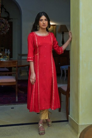 Red Mocklayer Solid Kurta
