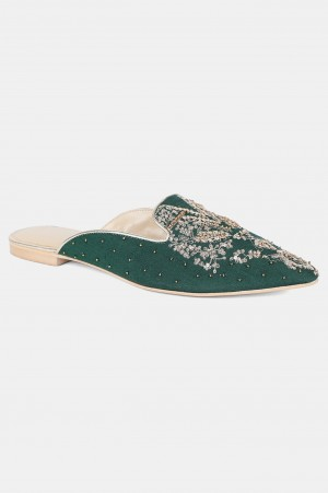 Green Pointed Toe Embroidered Flat - Wgrace