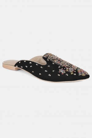 Black Pointed Toe Embroidered Flat - Wgrace