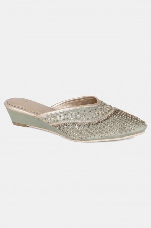 Green Pointed Toe Embroidered Wedge - WJESSICA