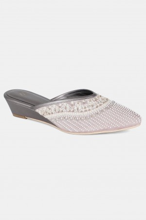 Grey Pointed Toe Embroidered Wedge - WJESSICA