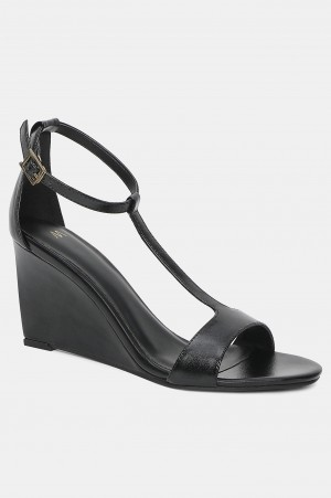 Black Almond Toe Solid Wedge-Wbeverly