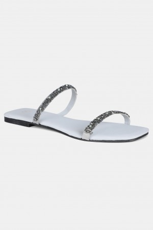 Grey Square Toe Embroidered Flat - WTERESA
