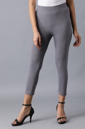 Grey solid cropped tights