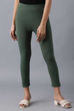 Green solid cropped tights