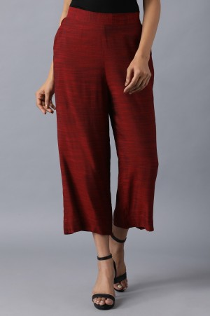 2 Tone Red Solid Culottes
