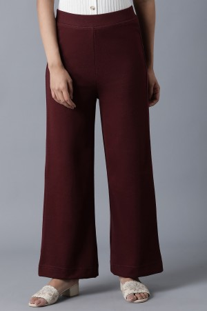 Maroon Ankle Length Palazzo