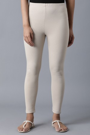 Beige Ankle Length Tights