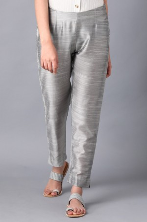 Silver Solid Trousers
