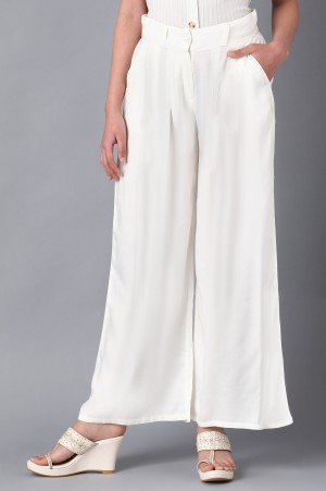 White Solid Pants