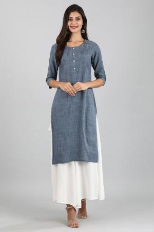 Blue Round Neck Yarn-dyed Kurta